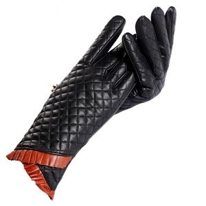 Accessories - The Fiona Leather Quilted Cashmere Lined Gloves